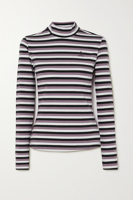 adidas Striped Stretch-cotton Jersey Top - Black