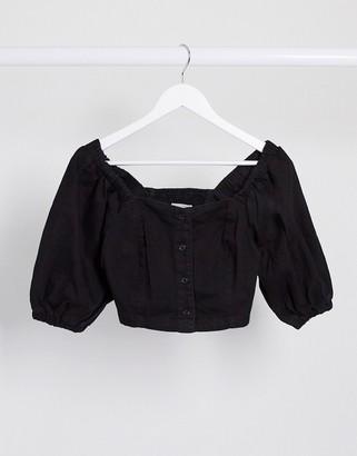 New Look cropped denim top in black