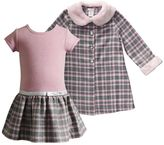 Youngland Toddler Girl Metallic Plaid Skirt Dress & Faux-Fur Trim Plaid Jacket Set