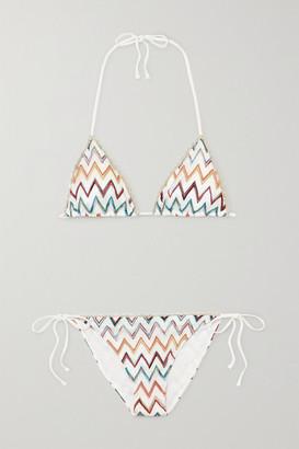 Missoni Mare Metallic Picot-trimmed Crochet-knit Triangle Bikini - White