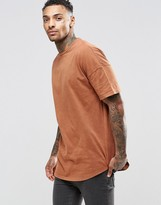 Asos Oversized T-Shirt With Acid Wash In Rust