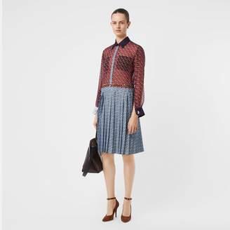 Burberry Monogram Print Silk Chiffon Pleated Shirt Dress
