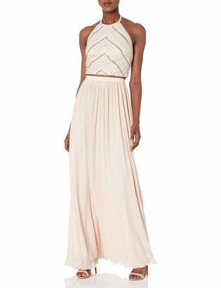 Aidan Mattox Aidan Women's Hand Beaded Crop Top Dress