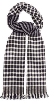 Begg & Co. - Rona Checked Cashmere Scarf - Mens - Navy White