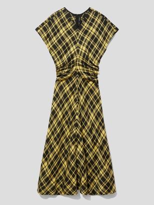 Proenza Schouler Short Sleeve Gathered Plaid Dress