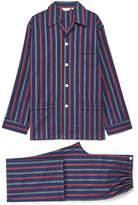 Derek Rose Savile 267 Navy Green & Red Striped Pyjama Set
