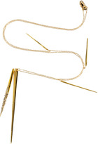 Alexis Bittar Crystal Encrusted Gold-Plated Long Spear Necklace