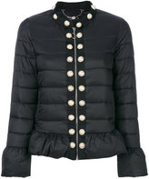Twin-Set pearl studded cropped jacket - women - Polyamide/Polyester - 40