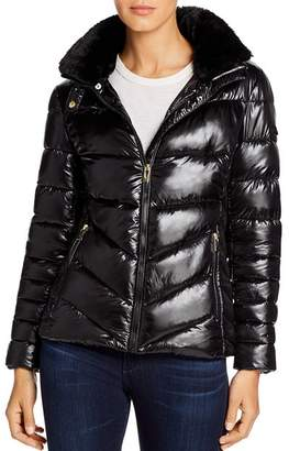 Via Spiga Faux Fur-Trim Short Puffer Coat