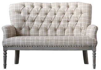 Bungalow Rose Karn Check Upholstered Settee