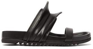 Rick Owens Brancusi Sculpted Leather Slides - Womens - Black