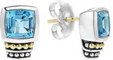 Lagos 18K Gold and Sterling Silver Caviar Color Stud Earrings with Swiss Blue Topaz