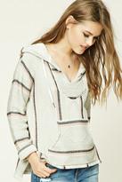 Forever 21 FOREVER 21+ Hooded Stripe Geo Sweater