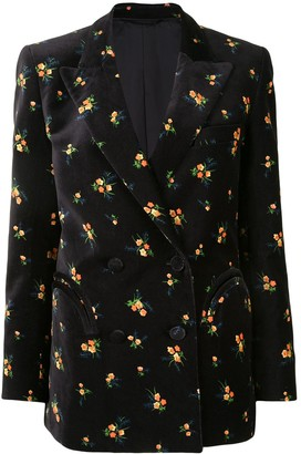 BLAZÉ MILANO Everynight tulip-print velvet double-breasted blazer
