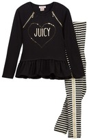Juicy Couture Heart Zipper Tunic & Striped Legging Set (Big Girls)