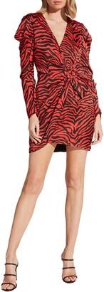 Bardot Zebra Long Puff Sleeve Twist Mini Dress