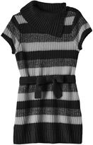 It's Our Time Girls Plus Size Splitneck Striped Sweater Tunic