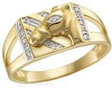 Fine Jewellery 0.05 TCW Diamonds Yellow Gold Horsehead Ring
