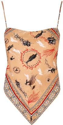 Silk Scarf Top Chihuahuan Desert Print