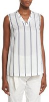 Brunello Cucinelli Regimental-Striped Silk V-Neck Top, White/Blue—