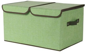 Unique Bargains Storage Bin Cube Fabric Toy Box Laundry Basket with Handles for Closet Gray