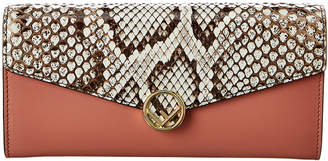 Fendi Leather & Snakeskin Continental Wallet