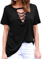Min Qiao Women's Deep V Neck Criss Cross Lace Up Front Cotton Tees T Shirts Casual Tops Blouse
