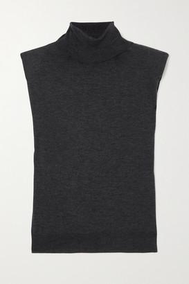 LOULOU STUDIO Melange Wool And Cashmere-blend Turtleneck Tank - Black