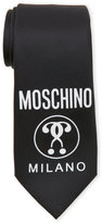 Moschino Black Logo Silk Tie