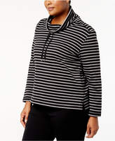 Karen Scott Plus Size Striped Funnel-Neck Top, Created for Macy's
