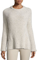 Joseph Ribbed Melange Wool-Blend Sweater, Ecru