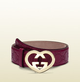 Gucci Guccissima Leather Belt With Heart-Shaped Buckle