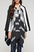 Love Stitch Charcoal Striped Poncho