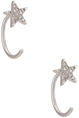 Ef Collection 14k Gold Diamond Star Loop Earring