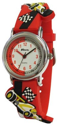 Ravel Children's 3D Red Racing Car Time Teacher Watch