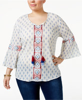 Style&Co. Style & Co Plus Size Cotton Mixed-Print Peasant Top, Created for Macy's