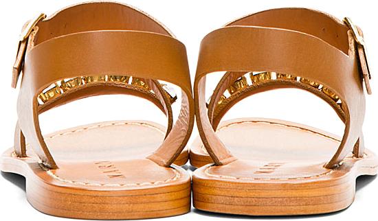 Marni Camel Embellished Leather Sandals