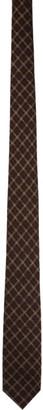 Dries Van Noten Brown and Tan Grid Silk Tie