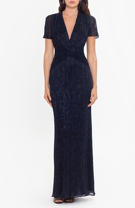 Xscape Evenings Metallic Knot Front Cap Sleeve Gown