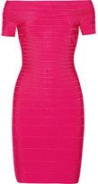Herve Leger Off-the-shoulder Bandage Dress - Pink