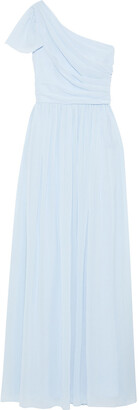 Mikael Aghal One-shoulder Draped Gathered Crepe Gown