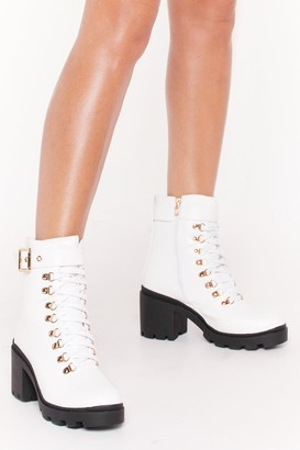 Nasty Gal Womens Unde-cleated Champ Lace-Up Hiker Boots - White