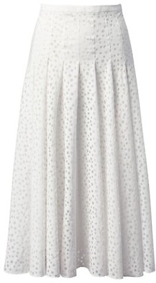 Akris Punto Devore Organza Dot Pleated A-Line Skirt