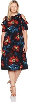 London Times Women's Plus Size Cold Shoulder Midi Scuba Crepe Fit & Flare Dress