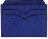 Valextra 4cc Blue Pebbled Leather Card Holder