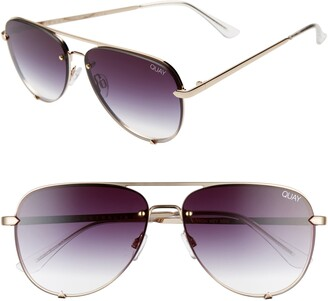 Quay High Key Mini 59mm Rimless Aviator Sunglasses