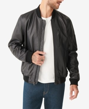 Lucky Brand Men's Premium Leather Ma 1 Bomber Jacket