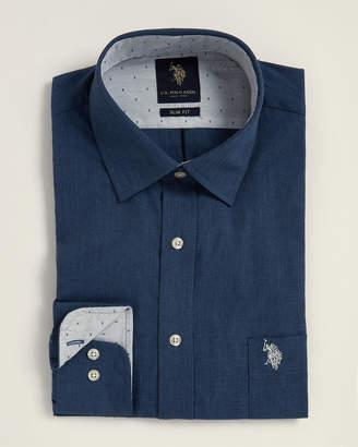 U.S. Polo Assn. Navy Micro Check Pattern Slim Fit Dress Shirt