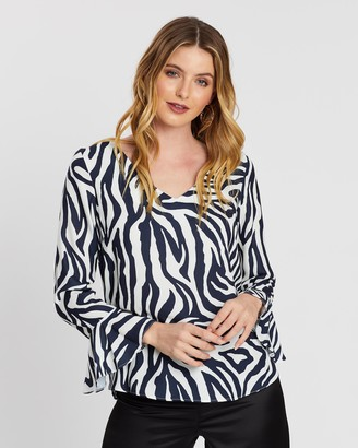 Wallis Ink Zebra Flute Sleeve Top