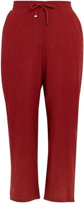 Evans Red Linen Blend Trousers